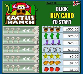 jet bingo cactus ranch pull tabs online instant win game
