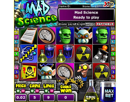 jet bingo mad scientist 5 reel online slots game