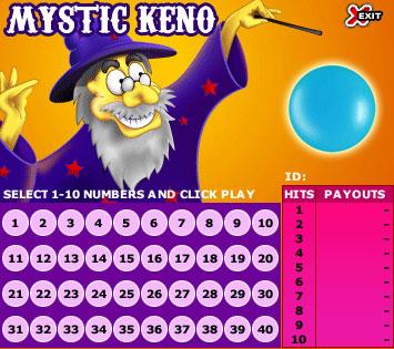 jet bingo mystic keno online instant win game