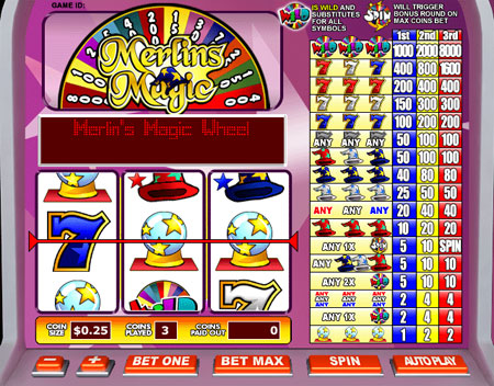 jet bingo merlins magic 3 reel online slots game