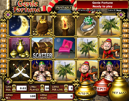 jet bingo genie fortune 5 reel online slots game